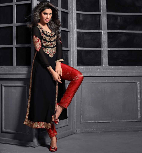 12004 maisha maskeen addiction black georgette long straight kameez maroon trouser type silk jacquard bottom