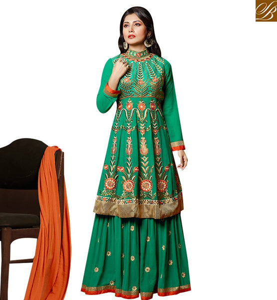 STYLISH BAZAAR GREEN GEORGETTE ANARKALI SALWAR KAMEEZ WITH PLAZZO STYLE HAVING GLAMOROUS LOOK SLZOL12005