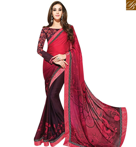 STYLISH BAZAAR GOOD LOOKING RED & WINE COLORED CASUAL WEAR PRINTED SAREE MHNYK12005