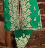 image of embroidered trouser type salwar and sherwarni style kurti
