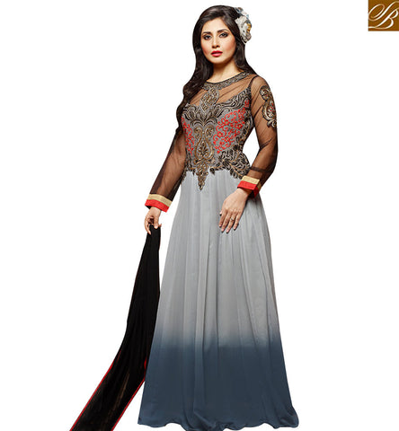 STYLISH BAZAAR LOVELY GREY GEORGETTE HEAVY EMBROIDERED ANARKALI SALWAR KAMEEZ WITH GOWN STYLE SLZOL12006