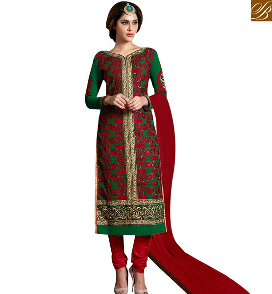 STYLISH BAZAAR PERFECT GREEN COLORED SALWAR SUIT WITH HEAVY EMBROIDERED WORK SLAKR12006