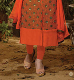 photograph of orange salwar with nazneen dupatta and long kameez