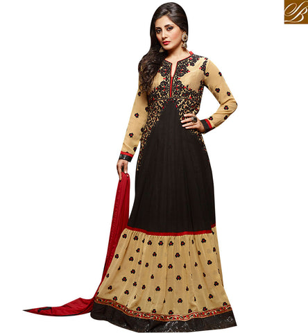 STYLISH BAZAAR ATTRACTIVE BLACK AND BEIGE GEORGETTE DESIGNER ANARKALI SUIT HAVING GOWN STYLE LOOK SLZOL12007