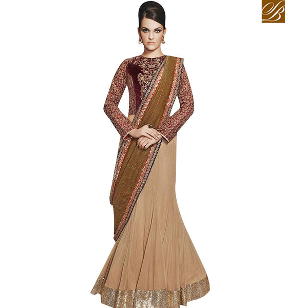 STYLISH BAZAAR LOVELY BEIGE AND MAROON GEORGETTE DESIGNER SAREE WITH MAROON EMBROIDERED BLOUSE NKEVR12007