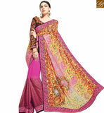 STYLISH BAZAAR CLASSY PINK & MUSTARD COLORED PRINTED SAREE WITH GREAT BORDER WORK MHNYK12007