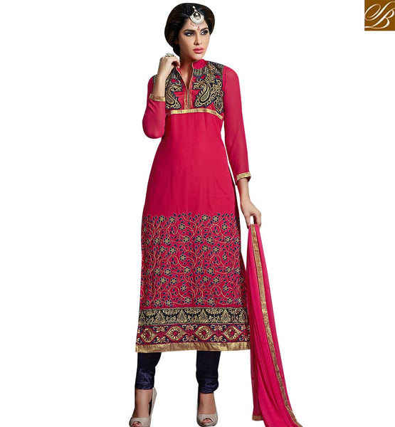 STYLISH BAZAAR EXCELLENT PINK COLORED DESIGNER SUIT WITH EYE CATCHING EMBROIDERED WORK SLAKR12007