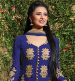 STYLISH CELEB DIVYANKA TRIPATHI BLUE 2015 LOOK SALWAR KAMEEZ