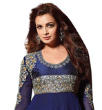 DIA MIRZA BEAUTIFUL BLUE GEORGETTE ANARKALI SUIT WITH DUPATTA RTHI12008
