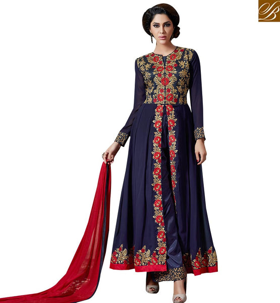 STYLISH BAZAAR ELEGANT DARK BLUE COLORED PLAZZO SUIT WITH PERFECT FLORAL WORK SLAKR12008