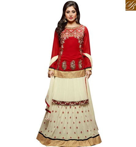 STYLISH BAZAAR ELEGANT RED GEORGETTE EMBROIDERED SALWAR KAMEEZ WITH CREAM DESIGNER LEHENGA SLZOL12008