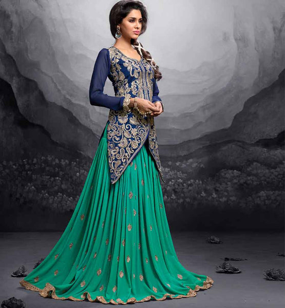 12008 maisha maskeen addiction collection hit color blue silk choli light green georgette lehenga