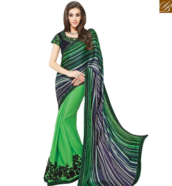 STYLISH BAZAAR DELIGHTFUL GREEN COLORED HALF & HALF SAREE MHNYK12009
