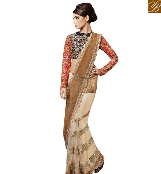 STYLISH BAZAAR MAGNETIC CREAM NET DESIGNER SAREE WITH BEIGE KNITTED FABRIC PALLU NKEVR12009