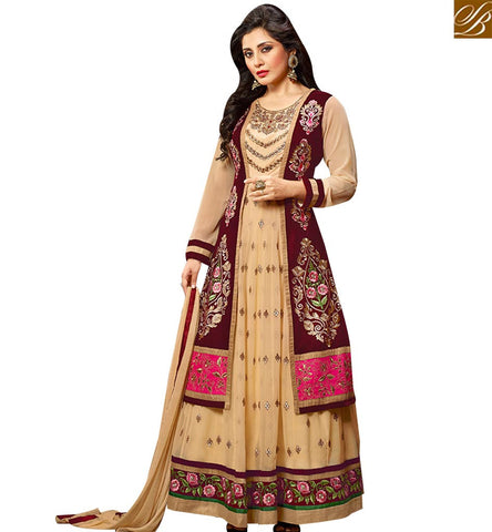 STYLISH BAZAAR PLEASING BEIGE GEORGETTE ANARKALI SALWAR KAMEEZ WITH WINE COLOR VELEVET JACKET SLZOL12009