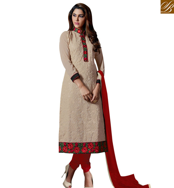 STYLISH BAZAAR EXCEPTIONAL CREAM COLORED DESIGNER SALWAR KAMEEZ SLAKR12009