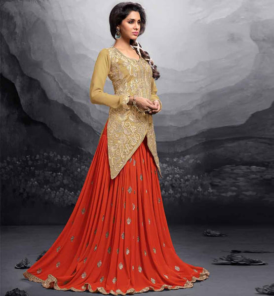 12009 maisha maskeen addiction collection new color cream chikoo silk long choli orange georgette lehenga
