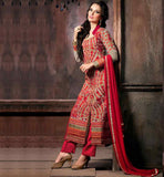 STYLISH BAZAAR LONG SHIRT DESIGNS SALWAR KAMEEZ CREAM DESIGNER GEORGETTE SUIT WITH MAROON SANTOON SALWAR AND PURE CHIFFON DUPATTA