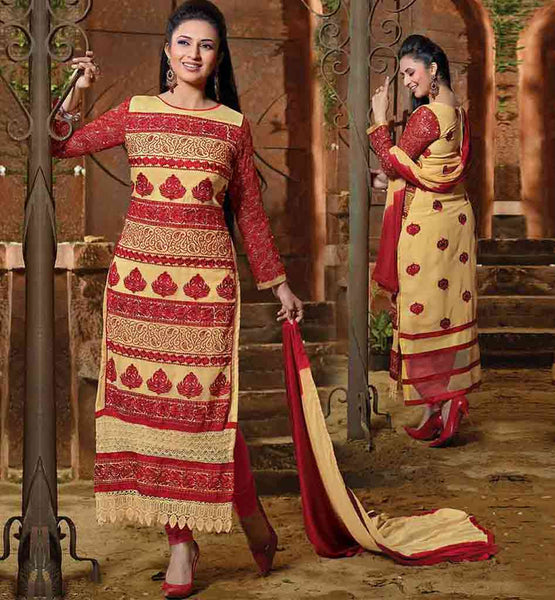 EVERSTYLISH PARTY WEAR SALWAR SUIT 2015  MODEL LIKED BY DIVYANKA TRIPATHI   Express yourself more beautifully with Beige faux georgette kameez dress