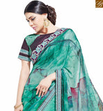 NICE LOOKING SEA GREEN COLORED PARTY WEAR SAREE MHNYK12010
