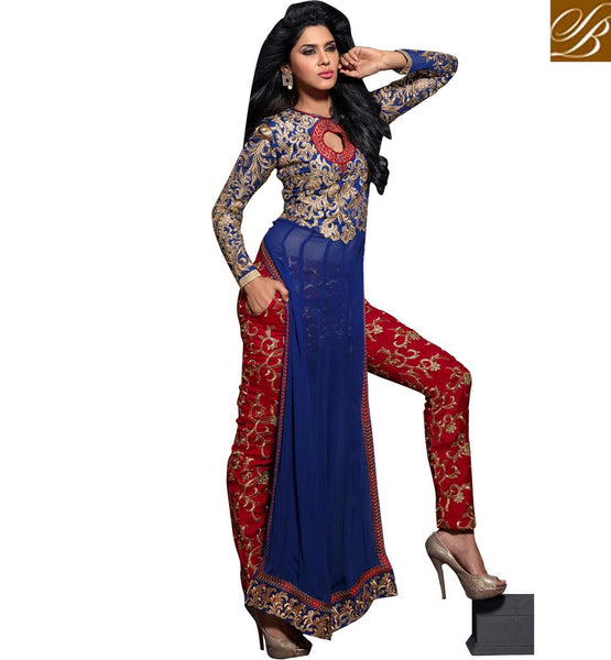 12010 maisha maskeen addiction blue long embroidered kameez rich work salwar chiffon dupatta