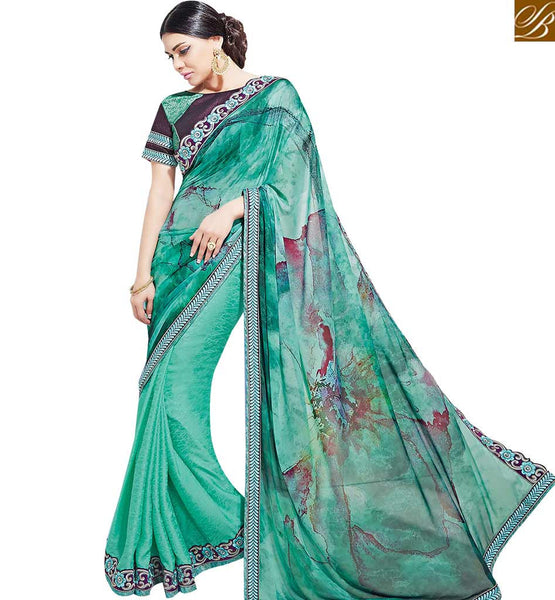 STYLISH BAZAAR NICE LOOKING SEA GREEN COLORED PARTY WEAR SAREE MHNYK12010