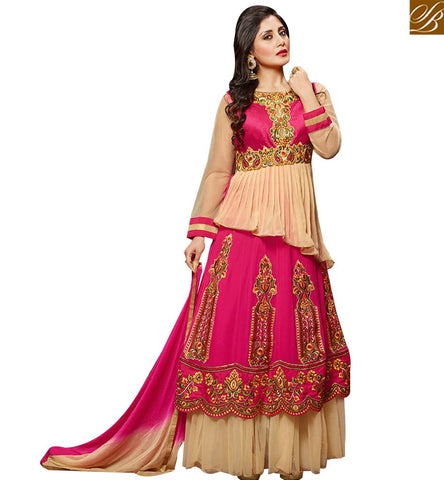 STYLISH BAZAAR MARVELLOUS PINK GEORGETTE HEAVY EMBEDDED ANARKALI SALWAR KAMEEZ WITH GOWN STYLE SLZOL12010