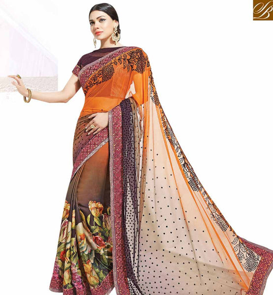 STYLISH BAZAAR BEWITCHING MULTICOLORED DESIGNER FLORAL PRINTED SAREE MHNYK12011