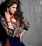 ROYAL LOOK VELVET LONG KURTI EMBROIDERED SALWAR NAZNEEN DUPATTA DRESS FOR WOMEN