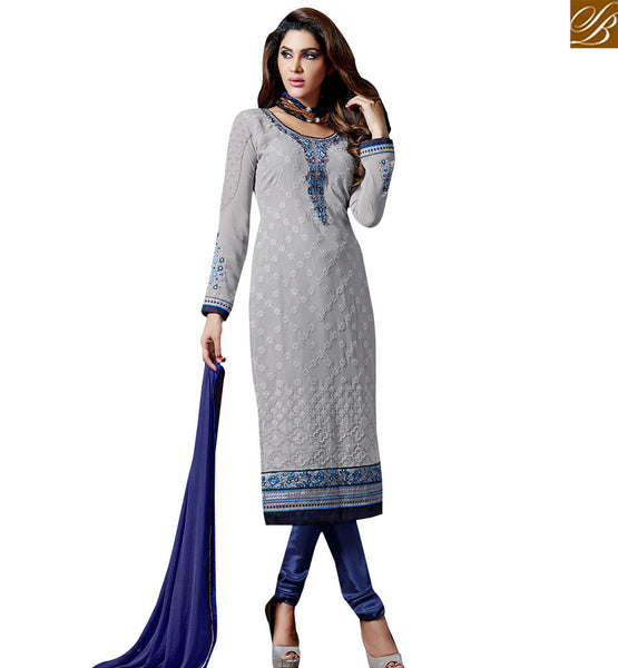 STYLISH BAZAAR MODISH GREY COLORED FESTIVAL WEAR SALWAR KAMEEZ SLAKR12012
