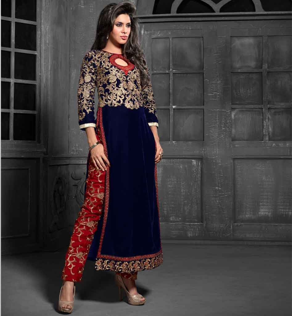 ROYAL LOOK VELVET LONG KURTI EMBROIDERED SALWAR NAZNEEN