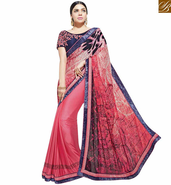 STYLISH BAZAAR MODISH PINK COLORED DESIGNER PARTY WEAR SAREE MHNYK12013