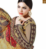 FROM STYLISH BAZAAR STRIKING BROWN COLORED DESIGNER HALF & HALF SAREE MHNYK12016