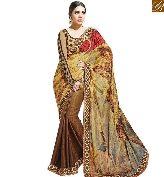 STYLISH BAZAAR STRIKING BROWN COLORED DESIGNER HALF & HALF SAREE MHNYK12016