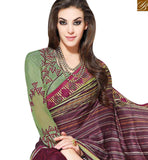 FROM THE HOUSE OF STYLISH BAZAAR STUNNING WINE COLORED SAREE WITH BEAUTIFUL BORDER WORK MHNYK12017