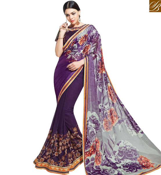 STYLISH BAZAAR EXCEPTIONAL PURPLE COLORED SAREE WITH BEAUTIFUL FLORAL PRINT MHNYK12018