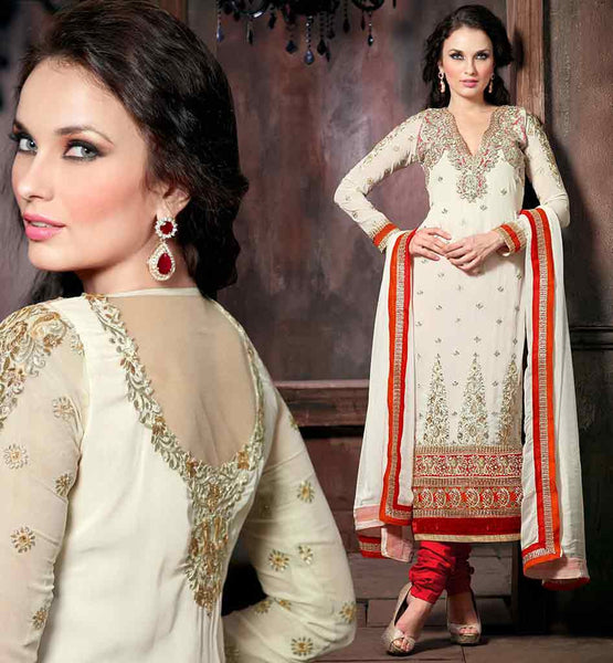 EVER STYLISH LONG KAMEEZ DESIGNS FOR INDIAN WOMEN WHITE DESIGNER GEORGETTE SUIT WITH MAROON SANTOON SALWAR AND MATCHING DUPATTA