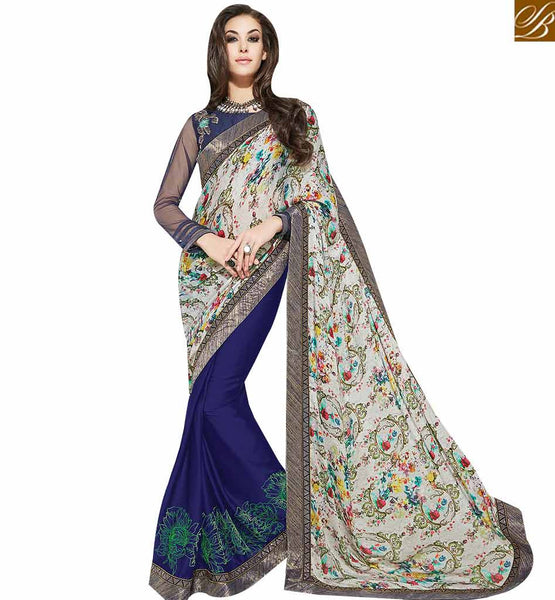STYLISH BAZAAR PRETTY ROYAL BLUE COLORED HALF & HALF SAREE MHNYK12022