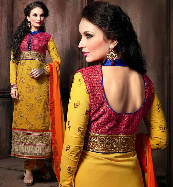 YELLOW SALWAR KAMEEZ LATEST DESIGNS FOR LADIES YELLOW DESIGNER GEORGETTE SUIT WITH MATCHING SANTOON SALWAR AND SHADED PURE CHIFFON DUPATTA