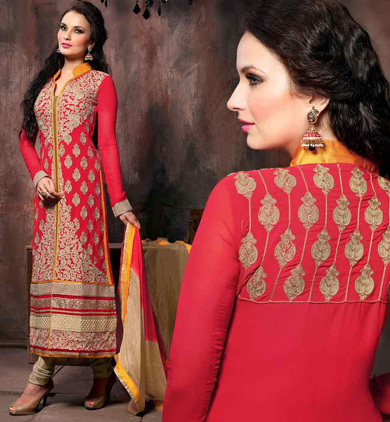 2015 FASHION SALWAR KAMEEZ DESIGN PATTERNS  PINK  DESIGNER GEORGETTE SUIT WITH CREAM SANTOON SALWAR AND SHADED PURE CHIFFON DUPATTA