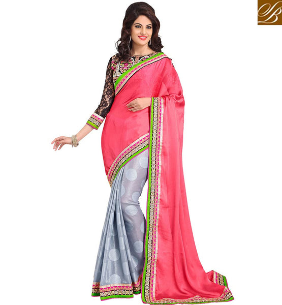 FROM THE HOUSE OF STYLISH BAZAAR APPEALING HALF AND HALF SARI DESIGN RTMDV1204
