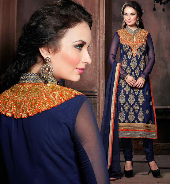 BUY SALWAR KAMEEZ DESIGN 2015 FOR INDIAN WOMEN NAVY BLUE DESIGNER GEORGETTE SUIT WITH MATCHING SANTOON SALWAR AND PURE CHIFFON DUPATTA