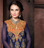 NAVY BLUE DESIGNER GEORGETTE SUIT WITH MATCHING SANTOON SALWAR AND PURE CHIFFON DUPATTA SUPERB CONTRAST COLOR DESIGNING ON THE NECK AND BACK AND SMART BUTTA PATTERN DETAILING ALL OVER THE KAMEEZ