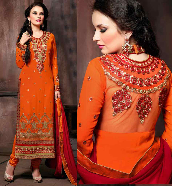 LATEST SHALWAR KAMEEZ DESIGN AT AFFORDABLE RATES ORANGE DESIGNER GEORGETTE SUIT WITH MATCHING SANTOON SALWAR AND CONTRAST PURE CHIFFON DUPATTA