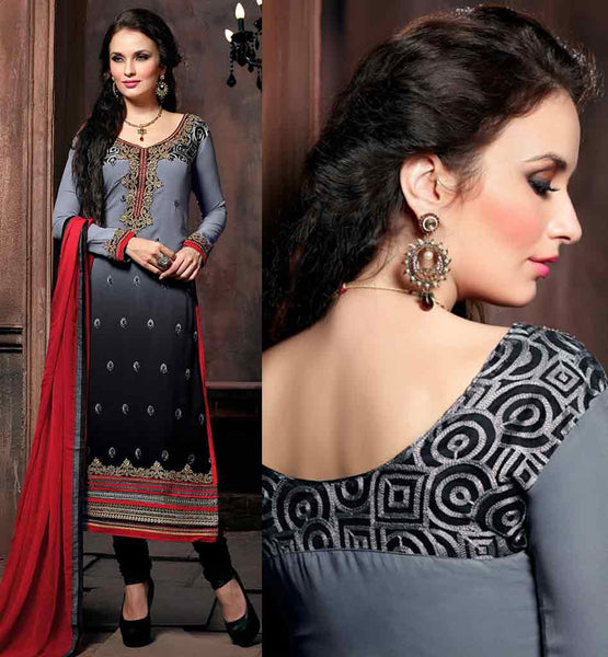 EXCITING EMBROIDERY & SUPERB SHADED GREY & BLACK STRAIGHT CUT PARTY WEAR DESIGNER GEORGETTE SALWAR SUIT NECK DESIGNS CATALOGUE TYPE PATTERN ON KAMEEZ ADDS BEAUTY