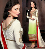 WOMEN DRESS DESIGN SALWAR KAMEEZ LATEST FASHION WONDERFUL WHITE & GREEN DESIGNER GEORGETTE SUIT WITH CREAM SANTOON SALWAR AND PURE CHIFFON DUPATTA