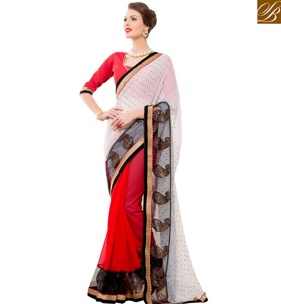 STYLISH BAZAAR CREAM AND MAROON FASHIONABLE DESIGNED DESIGNER SAREE RTANT120
