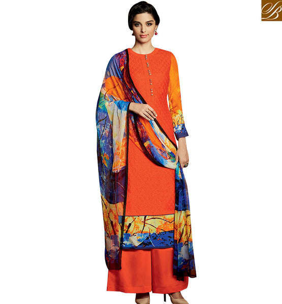 STYLISH BAZAAR DAZZLING ORANGE DESIGNER SALWAR KAMEEZ HAVING PLAZZO STYLE WITH BLUE PRINTED DUPATTA KMV120