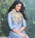 PLEASING SKY BLUE LINEN KURTI WITH  HEAVY EMBROIDERY WORK ON NECK