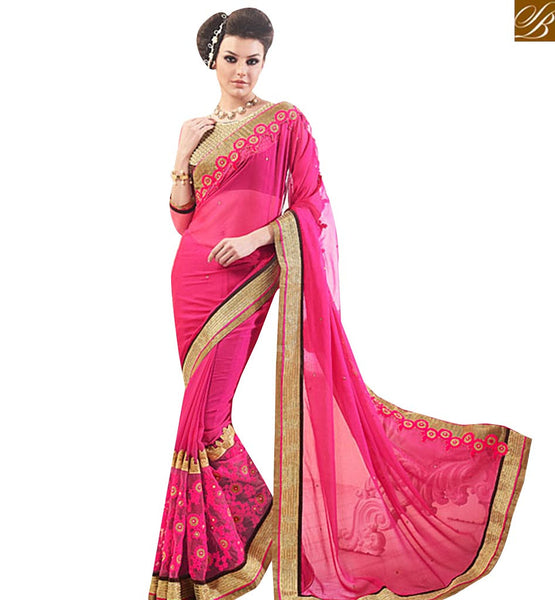 STYLISH BAZAAR ATTRACTIVE PINK CHIFFON DESIGNER SAREE WITH LACE BORDER WORK AND PATCH WORK ON BLOUSE MANJ12101